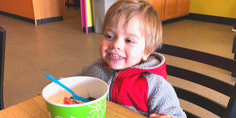 First time eating FroYo for a toddler