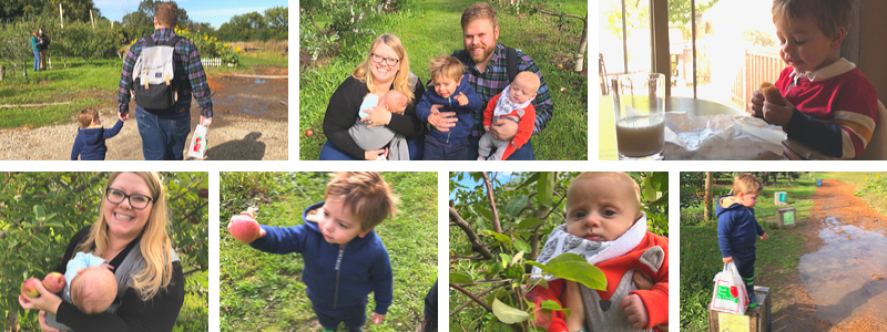 Family of 5 taking a trip to the apple orchard